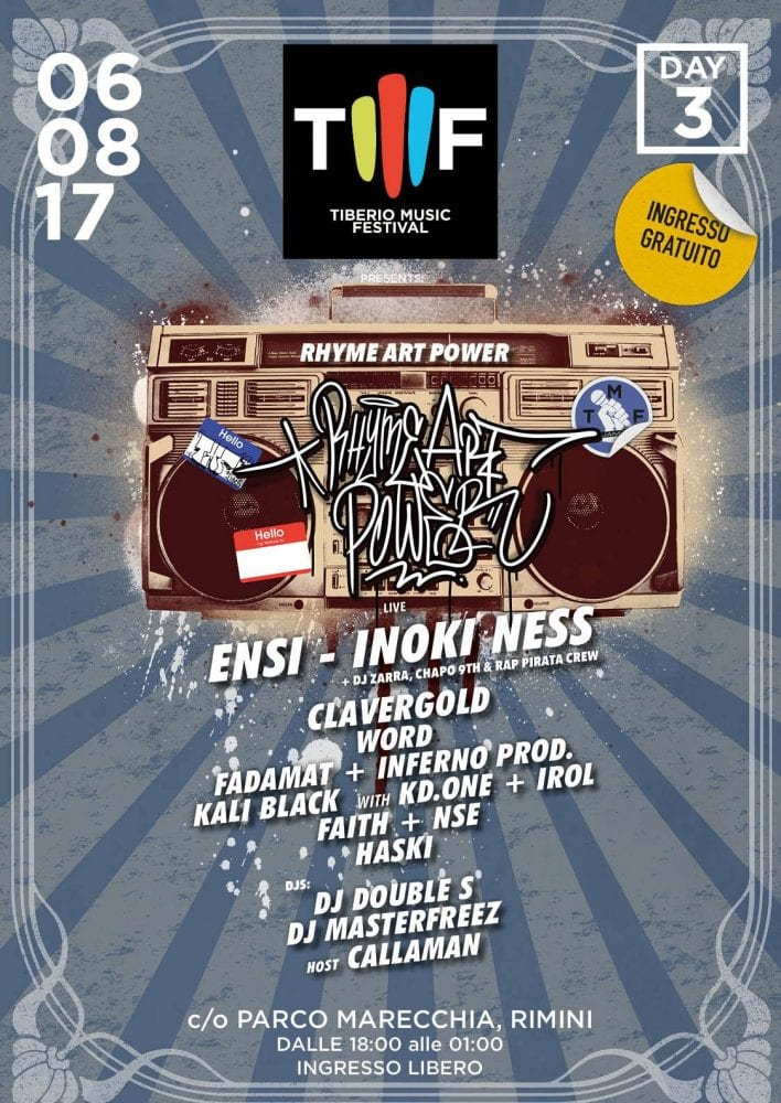 """Rhyme Art Power"" Tiberio Music Festival – Domenica 6 agosto 2017 RIMINI"